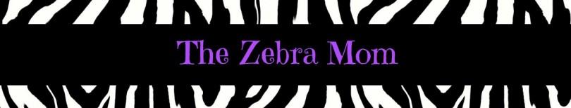 "Zebra stripe website banner with ""The Zebra Mom' in purple letters"